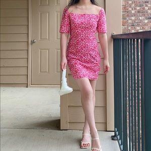 Pink printed handmade square neck mini dress XS